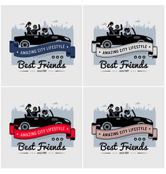 best friends and friendship logo or banner design vector image