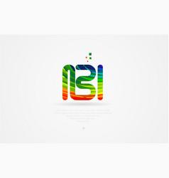 bi b i rainbow colored alphabet letter logo vector image