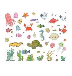 big set marine sea theme cute cartoon turtle vector image