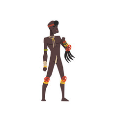 Black native man of african tribe vector