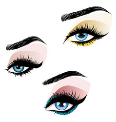 Blue eyes make up vector