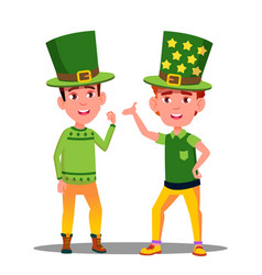 boys in green suits at st patrick day in ireland vector image