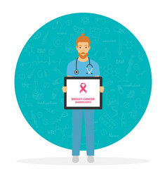 Breast cancer doctor awareness vector