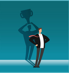 businessman with winner shadow holding trophy cup vector image
