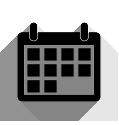 calendar sign black icon vector image