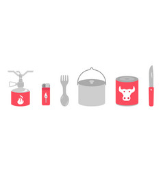 camping kitchen set cookhouse traveling equipment vector image