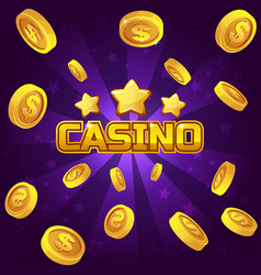 Casino winner background gold coins vector