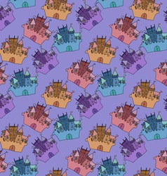 Castle seamless pattern flag fortress vector image