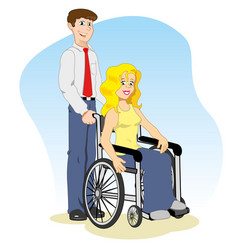 Caucasian woman in a wheelchair with companion vector