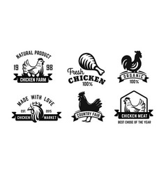 chicken emblem black set for farm products vector image