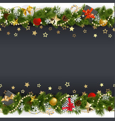 christmas background with stars and gifts vector image