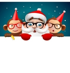 Christmas card with Santa Claus and monkeys vector image