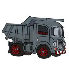 Classic gray dumper truck vector