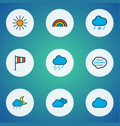climate icons colored line set with midnight vector image