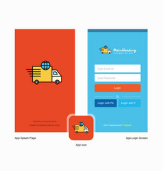 company transport splash screen and login page vector image