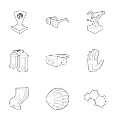 Computer latest devices icons set outline style vector
