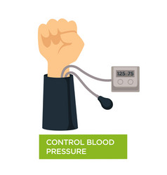 control blood pressure heart health check vector image