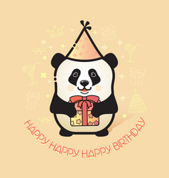 Cute bear panda holds a gift happy birthday card vector