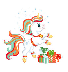 cute christmas unicorn with gifts vector image