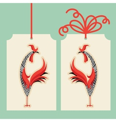 Decorative rooster with hand drawn ornamental body vector