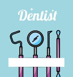 Dentist care hygiene tools card vector