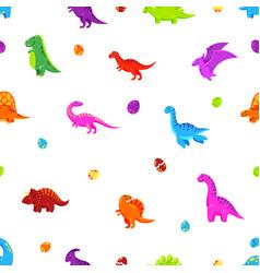 dinosaur cartoon background seamless vector image