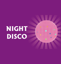Disco ball with rays on purple background vector