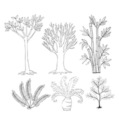 Doodle set of plants vector