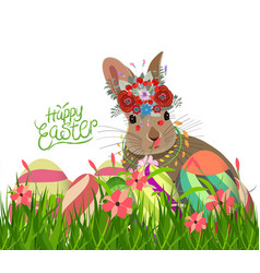 Easter eggs and rabbit spring with flower vector