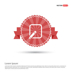 Edit pencil icon - red ribbon banner vector