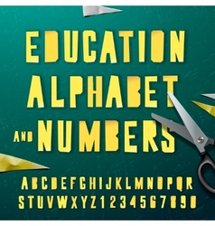 education alphabet and numbers cut out from paper vector image