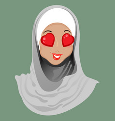 Emoticon muslim girl love vector