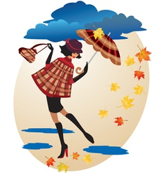 English girl in checkered coat vector