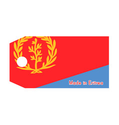 Eritrea flag on price tag with word made in vector