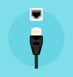 ethernet connector and network socket vector image