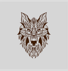 ethnic patterned head wolf front view vector image
