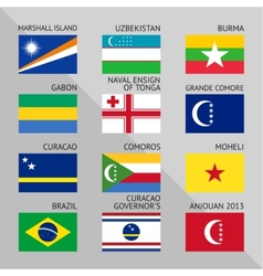 Flags world flat set number 11 vector