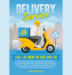 Food or parcel delivery scooter vector