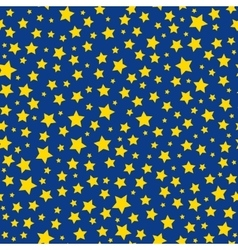 golden stars blue sky seamless pattern vector image