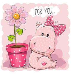 Greeting card hippo girl with flower vector