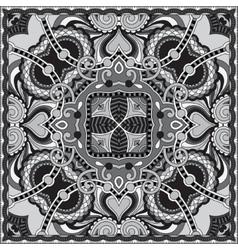 Grey ornamental floral paisley bandanna vector
