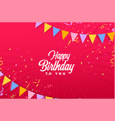 Happy birthday red background with confetti vector