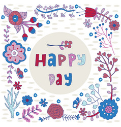 happy day flower frame vector image