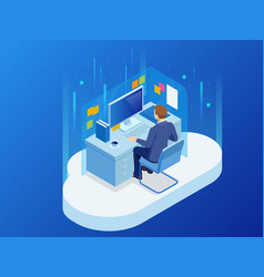 isometric man working with a cloud technology a vector image