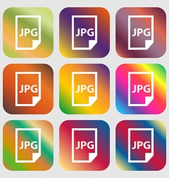 Jpg file icon Nine buttons with bright gradients vector