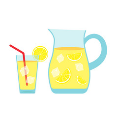Lemonade glass and pitcher with lemons and ice vector