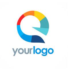 Letter e multimedia color logo vector