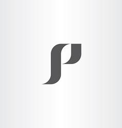 Letter p black logotype icon p logo vector
