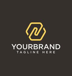 luxury letter n logo design hexagon monogram vector image