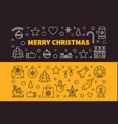 merry christmas 2 outline banners xmas vector image